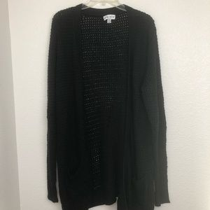 Ava & Vic black open knit crochet cardigan